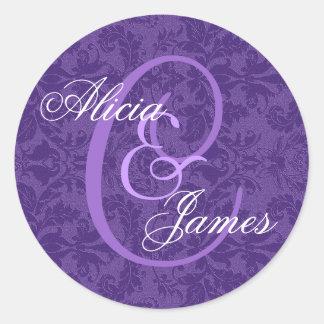Royal Purple Damask Wedding ANY Monogram V01 Classic Round Sticker