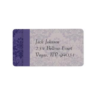 Royal Purple Damask Wedding Custom Address Label