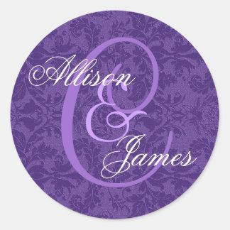 Royal Purple Damask Wedding Custom Monogram V01 Classic Round Sticker
