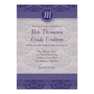Royal Purple Damask Wedding 5x7 Paper Invitation Card