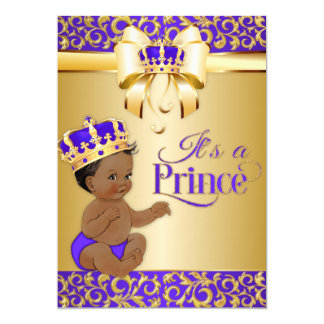 Royal Purple & Gold African American Prince Crown Card