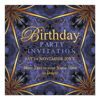 "Royal Purple & Gold Birthday Party Invitations 5.25"" Square Invitation Card"