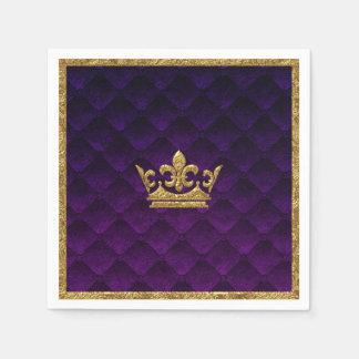 Royal Purple & Gold Crown Elegant Royal Storybook Napkin