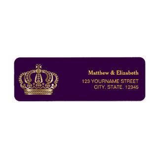 Royal Purple Gold Crown Wedding Label
