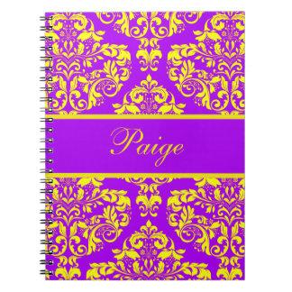 Royal Purple & Gold Damask Spiral Notebook