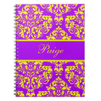 Royal Purple & Gold Damask Spiral Notebooks