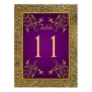 Royal Purple, Gold Floral Table Number Post Card