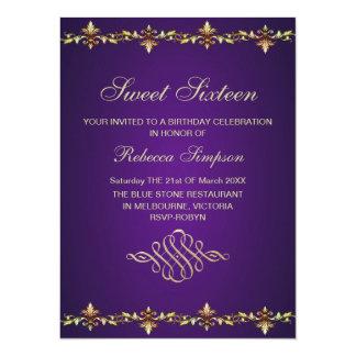 Royal Purple & Gold Leaf Birthday Invitation