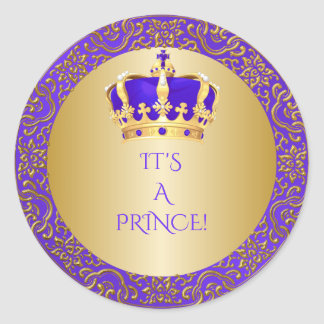 Royal Purple & Gold Little Prince Crown Classic Round Sticker