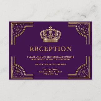 Royal Purple Gold Ornate Crown Reception Enclosure Card