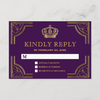 Royal Purple Gold Ornate Crown RSVP