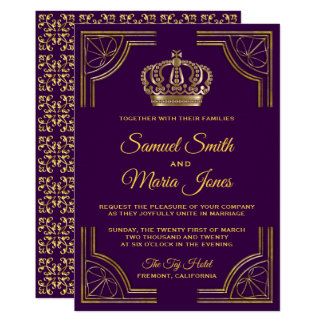 Royal Purple Gold Ornate Crown Wedding Invitation