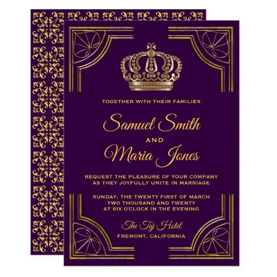Royal Purple Gold Ornate Crown Wedding Invitation Zazzle Com