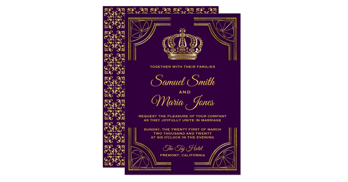 Royal Blue And Gold Wedding Invitations: Royal Purple Gold Ornate Crown Wedding Invitation