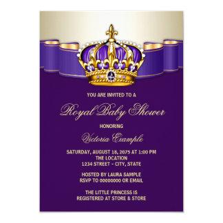 Royal Purple Gold Princess Baby Shower Card