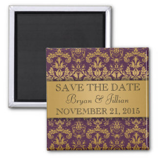 Royal Purple & Gold Regal Damask Save the Date 2 Inch Square Magnet