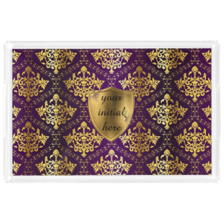Royal Purple & Gold Serving Tray