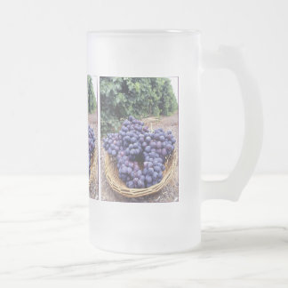 Royal Purple Grapes Frosted Glass Beer Mug