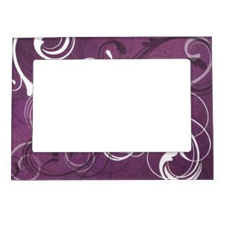Royal Purple Grunge Damask Elegant Wedding Magnetic Photo Frame