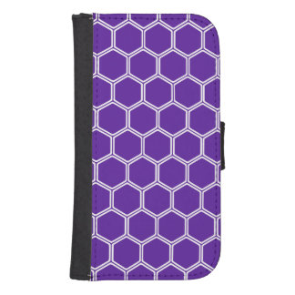 Royal Purple Hexagon 1 Wallet Phone Case For Samsung Galaxy S4
