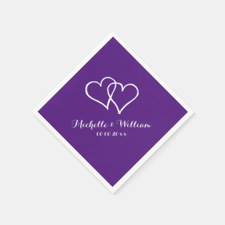Royal purple interlocking hearts wedding napkins