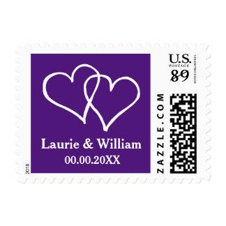 Royal purple interlocking hearts wedding stamps