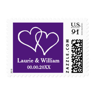 Royal purple interlocking hearts wedding stamps