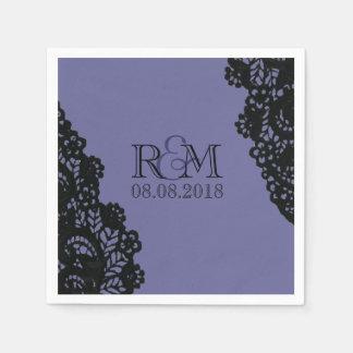 royal purple  Lace vintage wedding monograms Paper Napkin