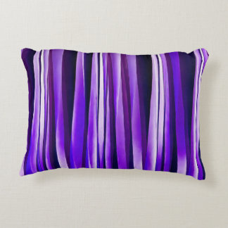 Royal Purple, Lilac and Silver Stripy Pattern Accent Pillow