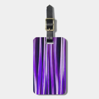 Royal Purple, Lilac and Silver Stripy Pattern Luggage Tag