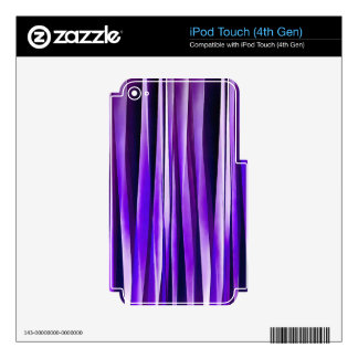 Royal Purple, Lilac and Silver Stripy Pattern Skin For iPod Touch 4G