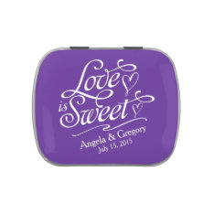 Royal Purple Love Is Sweet Wedding Candy Tin at Zazzle