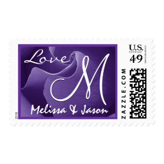 ROYAL PURPLE Love Wedding Rose Wedding Monogram Postage Stamp