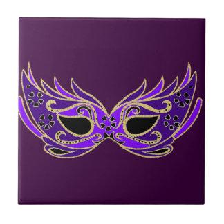 Royal purple masquerade mask ceramic tile