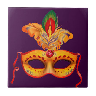 Royal purple masquerade mask mardi gras ceramic tile