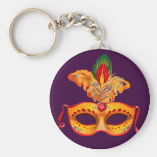 Royal purple masquerade mask mardi gras keychain
