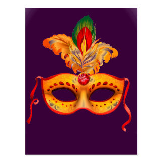Royal purple masquerade mask mardi gras postcard
