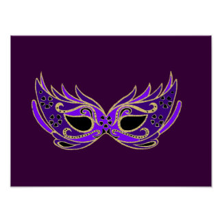 Royal purple masquerade theatrical mask poster