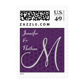Royal Purple Monogram Damask Wedding Stamp
