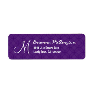 Royal Purple Monogram M Address Label A004