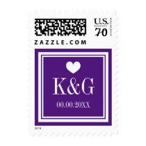 Royal purple monogram wedding postage stamps