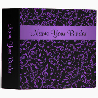 Royal Purple Music Notes On Black Binder