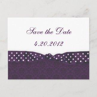 Royal Purple Polka Dot Ribbon postcard