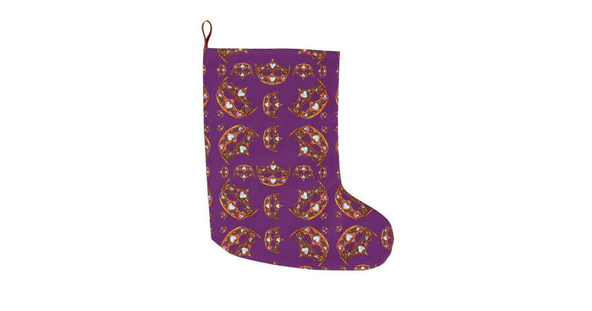 royal purple queen of hearts gold crown tiara large christmas stocking zazzlecom - Purple Christmas Stocking
