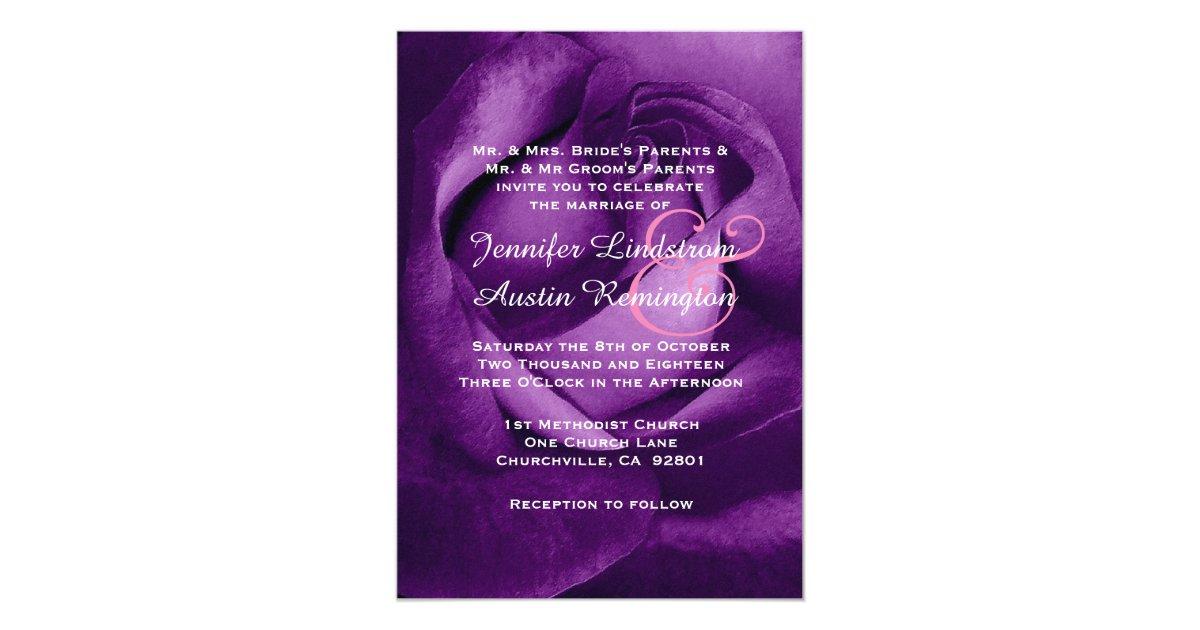 Purple Rose Wedding Invitations: Royal Purple Rose Wedding V12 Invitation