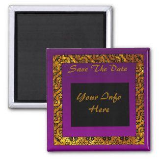 Royal Purple Save the Date 2 Inch Square Magnet