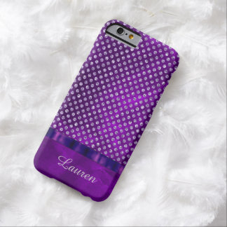 Royal Purple Silver Gem Personalized Barely There iPhone 6 Case