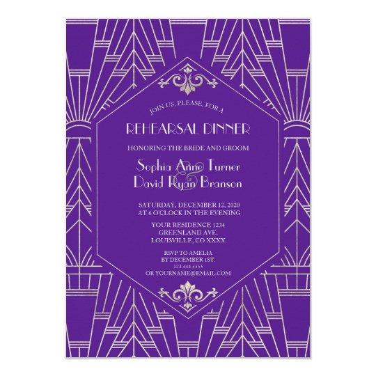 Royal Purple Silver Great Gatsby Rehearsal Dinner Invitation