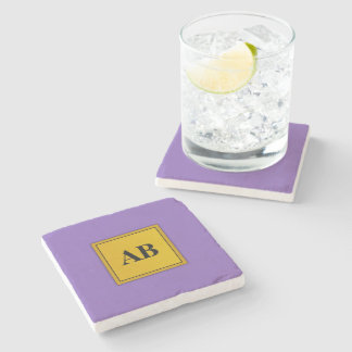 Royal purple solid color with monogram stone beverage coaster