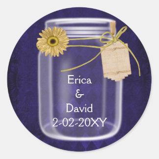 royal purple, sunflower mason jar wedding seals classic round sticker